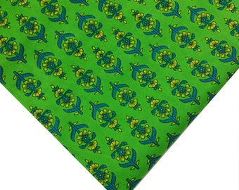 Indian Cotton Fabric - Floral Print in Mustard, Blue and Green - Block Printed Cotton Fabric by the Yard