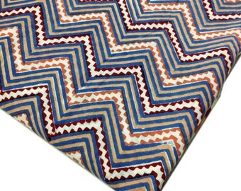 Blue and Red Aztec - Chevron Print Cotton Fabric - Soft Cotton Fabric for Dresses / Quilting / Bags / Crafts etc