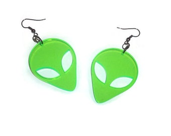 Green Alien Earrings,  UV Retro Laser Cut Earrings, Sci-fi, 90's