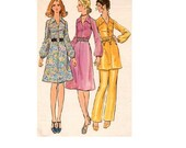 Butterick 6071 Sewing Pattern 70s Basic A-line Casual Day Cocktail Party Dress V Neckline Shirtdress Blouson Sleeve Tunic Pants Bust 36