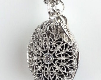 Essential Oil Diffuser Necklace in Sterling Silver Filigree,HOPE  Aromatherapy Locket