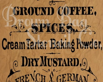 Coffee and Herbs Vintage Sign stencil - reusable mylar stencil