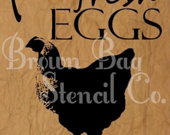 Farm Fresh Eggs Stencil - 12x20 - mylar stencil - Chicken Stencil