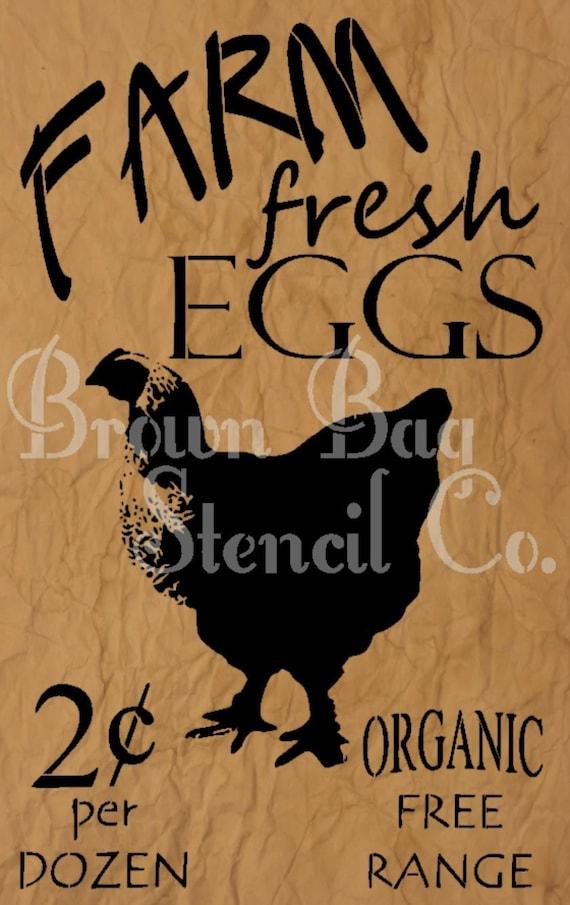 Farm Fresh Eggs Stencil 12x20 mylar stencil Chicken
