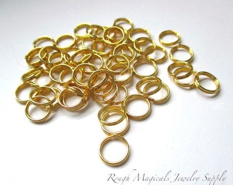 Gold Split Rings, 8mm Brass Split Jump Rings, Gold Tone Metal Rings, Crafter Craft Supplies, DIY Jewelry Making  60 Pieces  SP357