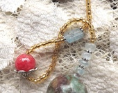 Ruby in Fuchsite Pendulum w/aquamarine, silver, rhodochrosite & kyanite beads