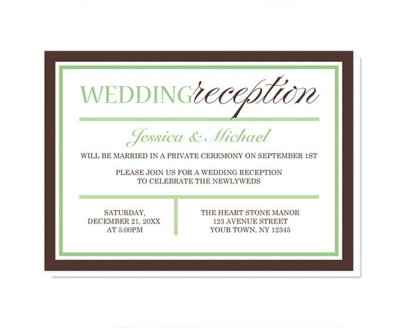 modern green brown reception only wedding invitations