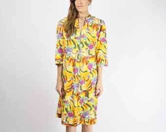 60s SHIFT DRESS, Mod Sixties Colourful Bright Yellow floral dress Cotton A-line Scooter dress Vintage Twiggy Metal zip Quirky, Medium Large