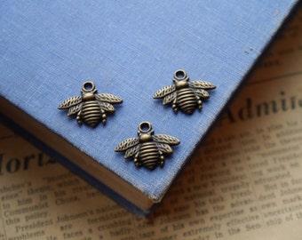 12 pcs Antique Bronze Bee Charms 21mm (BC2187)