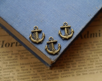 12 pcs Antique Bronze Nautical Anchor Rope Charms 23mm (BC2189)
