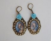 Virgin Mary Baby Jesus oval drop chandelier lever back pierced earring diamante blue rose cabochon Christmas gift for her