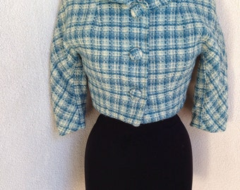 Vintage wool short jacket by Arthur Jay sz XS blue plaid tweed lined