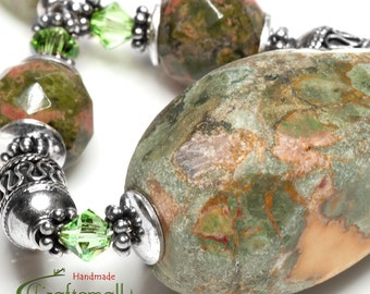 Clearance: Natural stone necklace - sterling silver pendant necklace with Unakite, Kyanite and Swarovski crystal