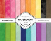 Watercolor 20 Piece Digital Scrapbook Paper Mega Pack - Personal and Commercial Use - INSTANT DOWNLOAD