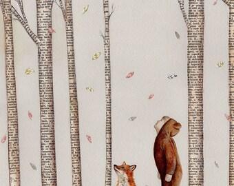 Fall, Autumn, Art Print, Nursery Art Print, Kids Bedroom Art, Whimsical Art, Collage Art, Unisex Nursery Art, Childrens Art, Bear Costume