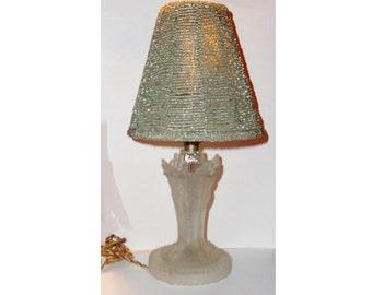 Vintage  Art Deco BOUDOIR Lamp, Frosted Base, Beaded Shade, Vanity Lamp