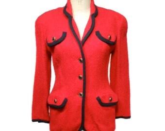 vintage HENRI BENDEL boucle jacket / red / fitted jacket / Hilary Banks / tailored jacket / women's vintage jacket / tag size 2