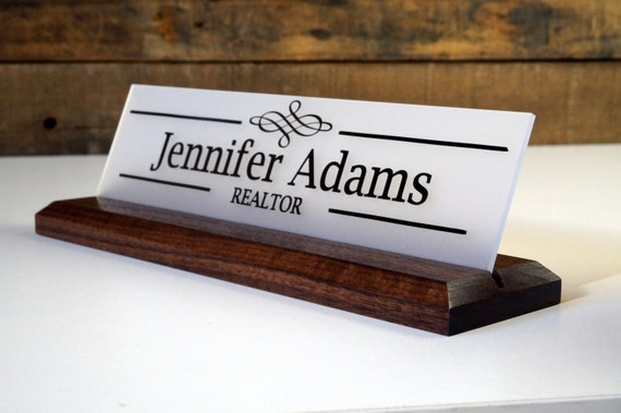 Desk Sign And Acrylic Name Plate Personalized Wood