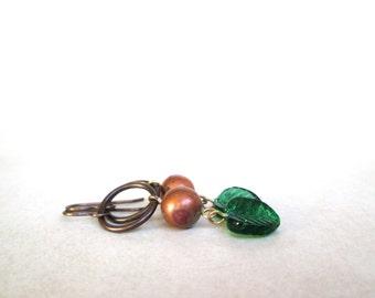 Leaf Earrings green copper by Nancelpancel on Etsy
