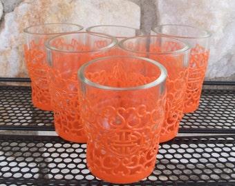 Vintage Mid Century Bullet Bar Glasses Orange Plastic & Glass