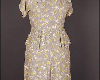 SALE! (was 69Euro) 30s 40s DRESS size UK 16 18 M L rayon grey cream yellow original vintage 1930 1940