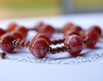 Fire Agate Necklace, Sterling Silver Gemstone Necklace,  Beaded Necklace, Gemstone Statement Necklace,17.5 - 20.5 inches