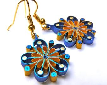 Earrings - Eco-friendly, quilled paper,  flower earrings