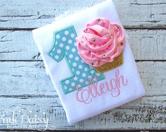 Birthday Shirt. Pink, Aqua, Gold 3D Cupcake Personalized Embroidered Birthday Shirt/Bodysuit.