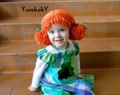 Girl Leprechaun Wig- Orange Pigtail Hat- Saint Patrick's Day Photoprop