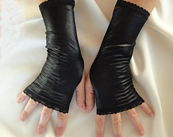 Long Black Gloves - Leather Look Black Fingerless Gloves
