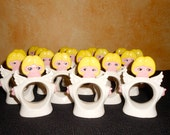 Vintage Set of 18 Holiday Angel Ceramic Napkin Rings