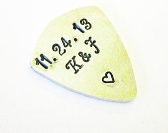 Personalized guitar pick, anniversary date plectrum, Mens Gifts, gifts for men, husband anniversary gift, Aluminum hand stamped guitar pick