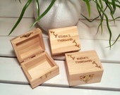 Personalized Set of THREE Bridesmaid Little Favor Boxes for Rustic Weddings