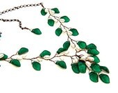 Emerald Green Statement Necklace, Flower Necklace, Bridal Jewelry, Woodland Jewelry, Holiday Jewelry, Xmas Gift For Her