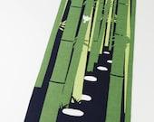 Japanese Tenugui bambu and birds fabric, cute fabric, tenugui, kawaii fabric, wall decoration, japnese curtainbirds