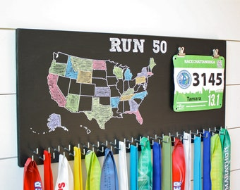 50 States Medal Holder with race bib holder clips and 50 hooks on Chalkboard, Run 50, USA medal rack, RUN 50
