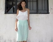 Vintage Skirt/60s/Mint Green/Sage/Pastel/Easter/Mad Men Style/Small