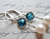 Sapphire Blue Glass & Freshwater Pearl Earrings / Sterling Silver / SimplyJoli / Dangle Earrings