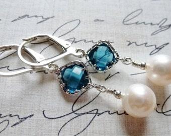 Sapphire Blue Glass & Freshwater Pearl Earrings / Sterling Silver / SimplyJoli / Dangle Earrings