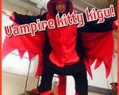 Pawstar Vampire Cat Kitty kigurumi fursuit costume cosplay Wings Bat pajamas onsie animal suit Halloween rave anime Kigu 6325