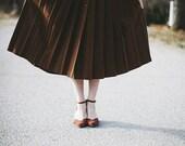 Vintage Autumnal Pleated Wool Skirt - xs