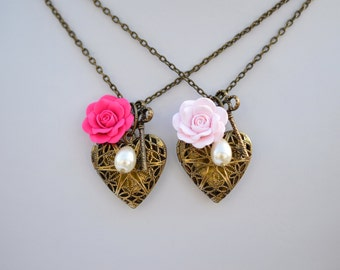 Heart Locket and Rose Necklace, Valentine Heart Necklace, Pink Rose Heart Necklace
