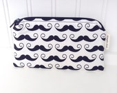 Cute Zippered Mustache Print Pouch - Mustache Coin Pouch - Black and White Zippered Wallet