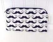 Moustache à fermeture à glissière mignon imprimer Pouch - moustache Coin Pouch - noir porte-monnaie à fermeture éclair