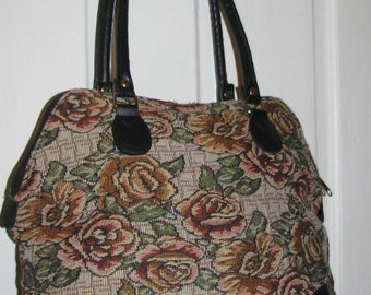 80's TAPESTRY ROSE SATCHEL // Large Vintage Tote Bag Handbag Carry All On Floral Purse Flowers Faux Leather