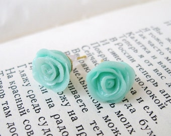 Stud earrings, Mint Rose, Small Roses Studs, Hypoallergenic post
