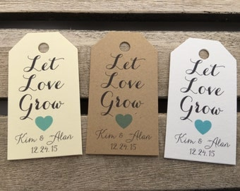 Small Wedding Gift Tags - Let Love Grow - Wedding Favor Tags - Customizable Personalized (WT1457)