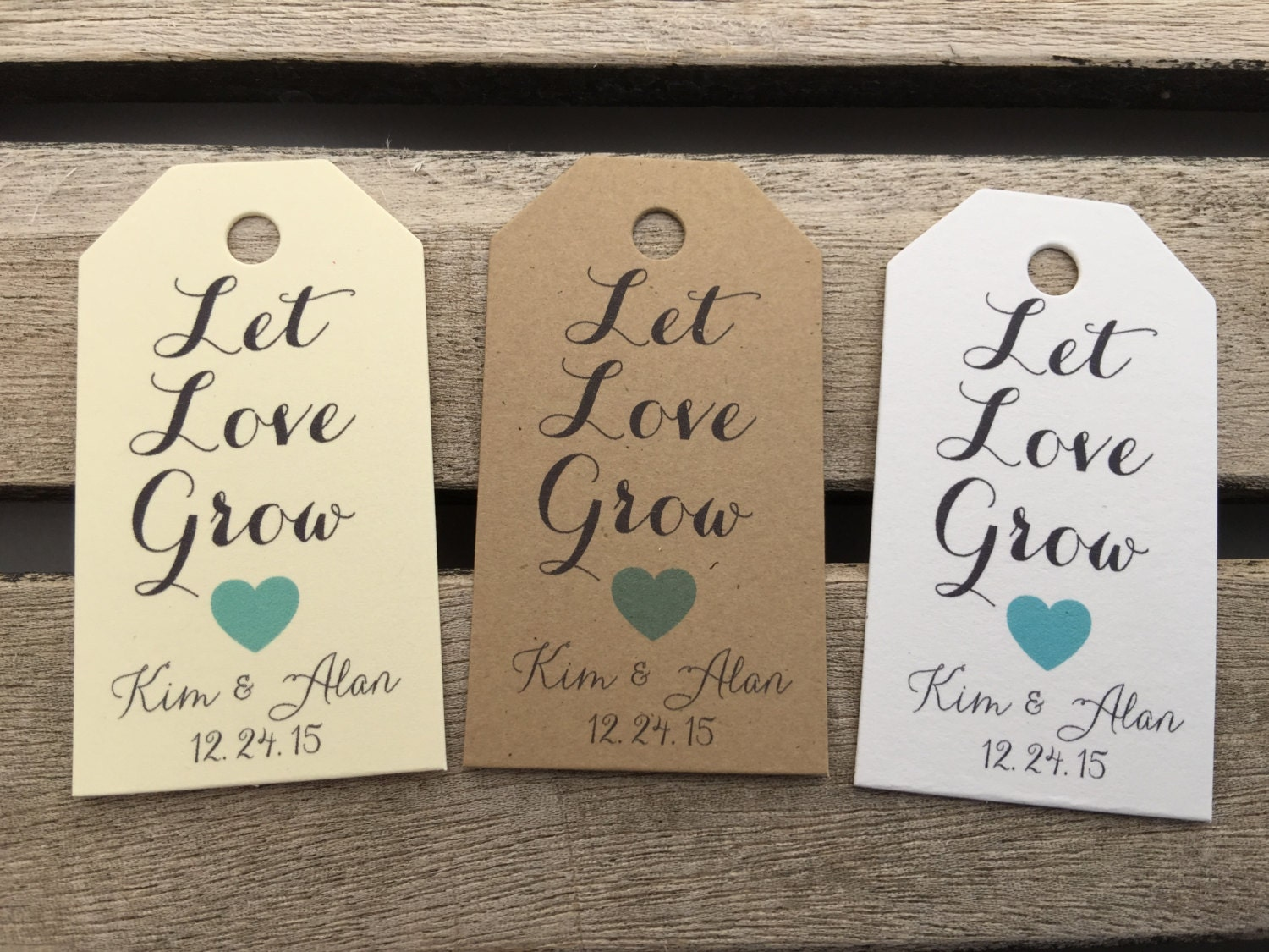 Wedding Favour Gift Tags: Small Wedding Gift Tags Let Love Grow Wedding Favor Tags