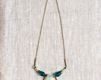 Jizera Necklace - Tumbled Glass and Vintage Chain Necklace