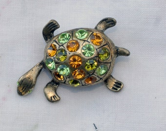 Peridot & Citrine Colored Faceted Glass Turtle Brooch